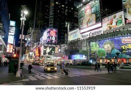 New York City.Manhattan.Times Square at Night. - stock photo