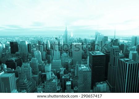 New York City, Manhattan with modern tone filter - stock photo