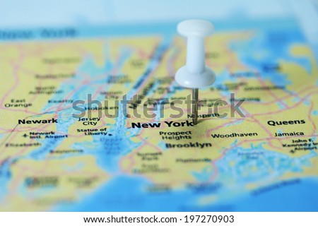 New York City map mark with push pin close up - stock photo