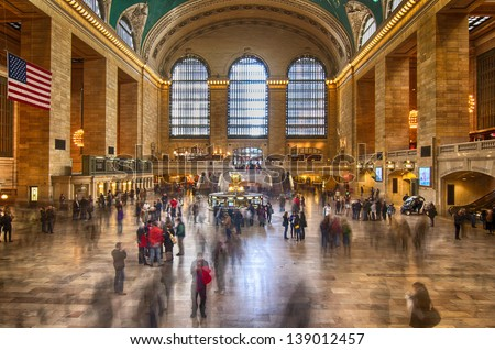 NEW YORK CITY - MAR 18: Interior of Grand Central Station on March 18, 2011 in New York City, NY. The terminal is the largest train station in the world by number of platforms having 44 - stock photo