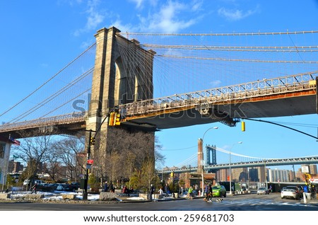 NEW YORK CITY - MARCH 8, 2015: Brooklyn Bridge, Brooklyn, New York City, USA. - stock photo