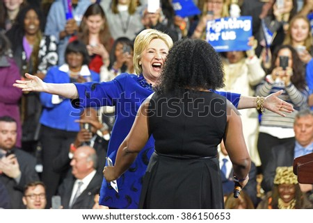 NEW YORK CITY - MARCH 2 2016: Hillary Clinton affirmed her status as front-runner for the Democratic presidential nominations with a speech at Jacob Javits Center. Candidate greets Alicia Williams - stock photo