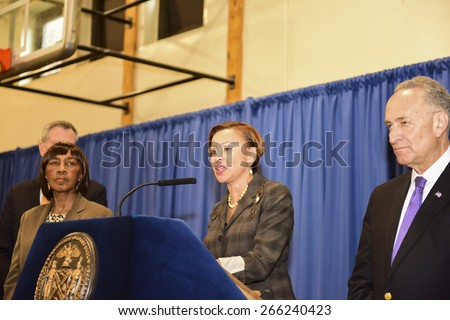 NEW YORK CITY - MARCH 31 2015: mayor de Blasio & senator Charles Schumer held a press conference with Brooklyn elected officials to announce a 3 billion dollar FEMA grant to the NYCHA. Nydia Velazquez - stock photo