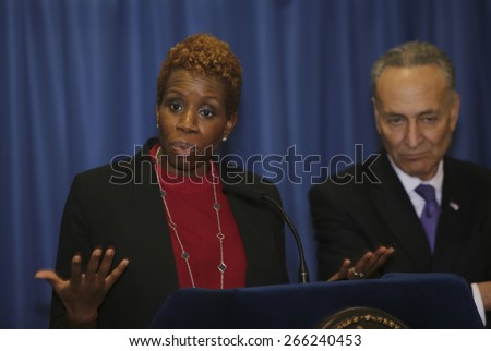 NEW YORK CITY - MARCH 31 2015: mayor de Blasio & senator Charles Schumer held a press conference with Brooklyn elected officials to announce a 3 billion dollar FEMA grant to the NYCHA. Shola Olatoye - stock photo