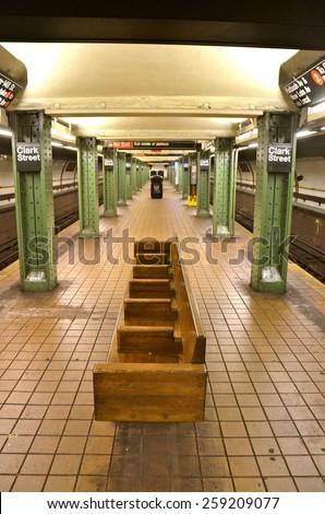 NEW YORK CITY - March 8, 2015: New York City subway station in Brooklyn, New York City, USA.  - stock photo