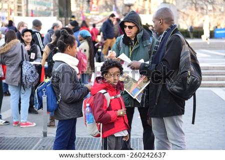 NEW YORK CITY - MARCH 12 2015: Stop Mass Incarceration Network & the Revolutionary Communist Party staged a rally & prep for a next day protest at local high schools in opposition to police brutality - stock photo