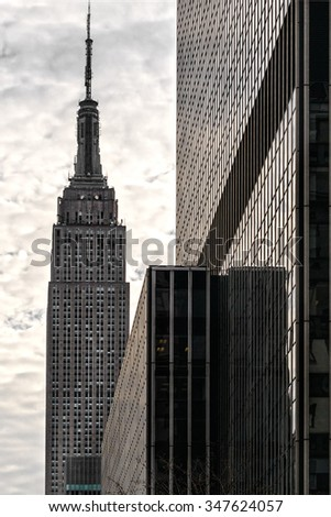 NEW YORK CITY - MARCH 25: The Empire State Building in Manhattan, is a 102-story landmark skyscraper and was the world's tallest building for more than 40 years. March 25, 2012, New York City. USA. - stock photo