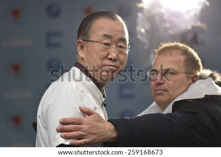NEW YORK CITY - MARCH 8 2015: United Nations International Women's Day was marked with a rally in Dag Hammarskjold Plaza & march to Times Square. UN Secretary General Ban Ki Moon - stock photo