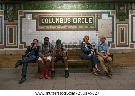 NEW YORK CITY - MAY 2015: Columbus Circle subway station. The NYC Subway is one of the oldest and most extensive public transportation systems in the world, with 468 stations. - stock photo