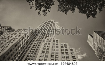 NEW YORK CITY - MAY 21 : Empire state building facade on May 21, 2013. It stood as the world's tallest building for more than 40 years (from 1931 to 1972) - stock photo