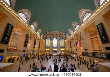 NEW YORK CITY - MAY 6: Grand Central Terminal Interior of Main Concourse on May 6th, 2013 Manhattan, New York City, USA - stock photo