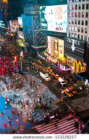 NEW YORK CITY - MAY 8: High view of crowds at Times Square at night. This is a busy tourist intersection of neon lights and an iconic street of NYC. Taken on May 8th, 2013 in Manhattan, New York City. - stock photo