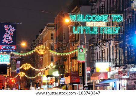 NEW YORK CITY - MAY 16, 2012: Little Italy May 16, 2012 in New York, NY. Little Italy and Chinatown were listed in a single historic district on the National Register of Historic Places. - stock photo
