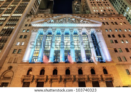 NEW YORK CITY - MAY 22: New York Stock Exchange May 22, 2012 in New York, NY. With origins as far back as 1792, the NYSE is currently the world's largest exchange by market capitalization. - stock photo