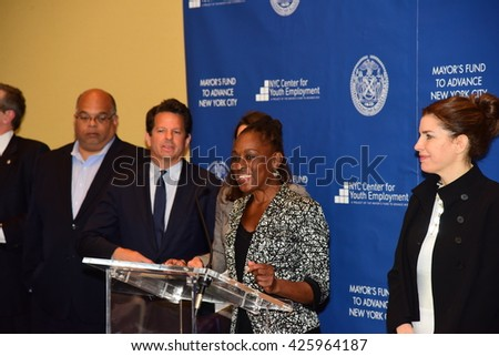 NEW YORK CITY - MAY 17 2016: NYC first lady Chirlane McCray led a press conference at Time Warner Center to announce strategies to enhance youth employment. First lady Chirlane McCray with panel - stock photo