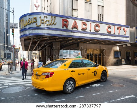 NEW YORK CITY - MAY, 2015: Radio City Music Hall in midtown Manhattan. This historic theater in Rockefeller Center opened in 1932. - stock photo