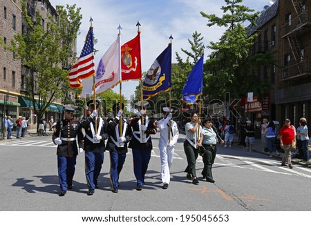 NEW YORK CITY - MAY 26 2014: The 146th annual King's County Memorial Day Parade, one of the nation's oldest, honored fallen & living veterans in the streets of Bay Ridge, Brooklyn. Color guard on 3rd  - stock photo