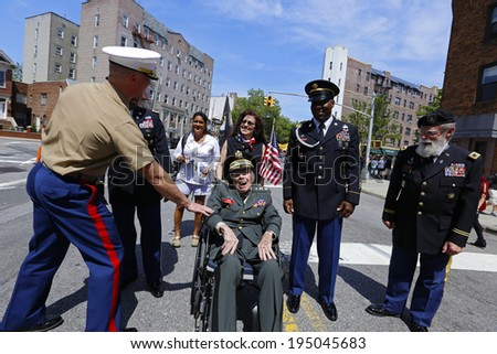 NEW YORK CITY - MAY 26 2014: The 146th annual King's County Memorial Day Parade, one of the nation's oldest, honored fallen & living veterans in the streets of Bay Ridge, Brooklyn. Chaplain & comrades - stock photo