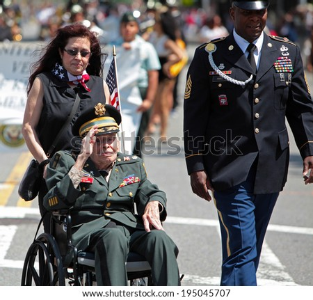 NEW YORK CITY - MAY 26 2014: The 146th annual King's County Memorial Day Parade, one of the nation's oldest, honored fallen & living veterans in the streets of Bay Ridge, Brooklyn. Lt Col Chaplain. - stock photo