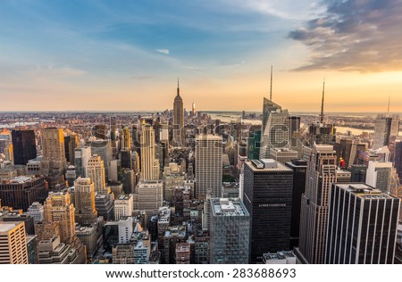 New York City midtown skyline - stock photo