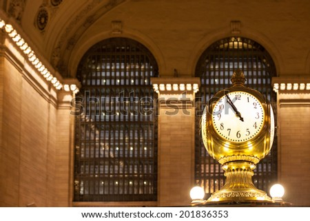 New York City, NEW YORK CITY - JUNE 11, 2014: Interior of Grand Central Station on Junw 11, NY. The terminal is the largest train station in the world by number of platforms having 44. - stock photo