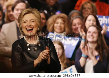New York City, New York, USA, March 31, 2016; Democratic Presidential Candidate Hillary Clinton laughs after speaking at the Apollo Theater in Harlem, New York City.  - stock photo