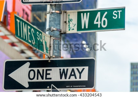 NEW YORK CITY, NEW YORK, USA  MAY 23, 2013:signal crossroads between Times Square and W 46 Street - stock photo