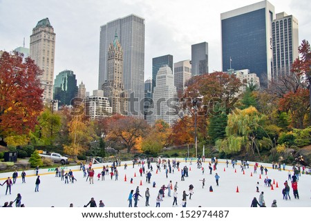 NEW YORK CITY - NOV 13:  New York's famous Wollman Ice Rink in Central Park is operated by the Trump organization and opened in 1949, November 13th, 2011. - stock photo