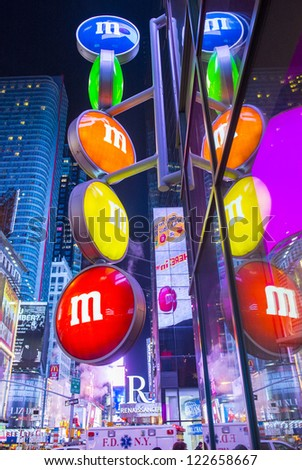 NEW YORK CITY - NOV 01 : The M&M world store in Times square New York on November 01, 2012 ,                   This three-level 24,000-square-foot store is the largest candy store in New York. - stock photo