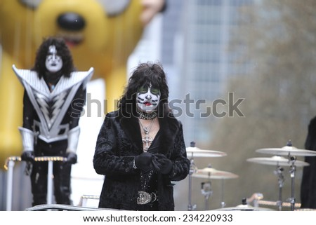 NEW YORK CITY - NOVEMBER 27 2014: the 88th annual Macy's Thanksgiving Day parade stretched from Manhattan's Upper West Side to Herald Square, viewed by 350,000. Eric Singer & Tommy Thayer of KISS - stock photo