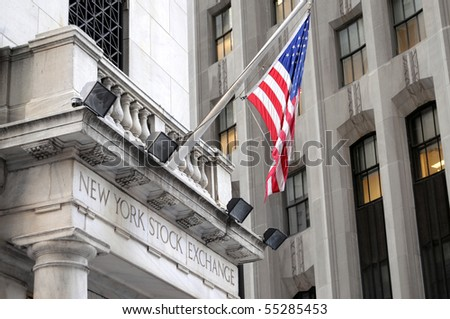 NEW YORK CITY, NY - APRIL 18: The New York Stock Exchange on Wall Street is closed for the weekend after a hectic trading week, on April 18, 2009 in New York City. - stock photo