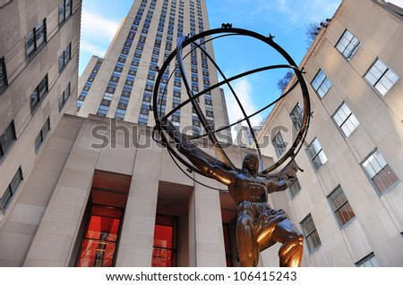 NEW YORK CITY, NY - DEC 30: Rockefeller Center on Fifth Avenue on December 30, 2011 in New York City. Fifth Avenue has the world's most expensive retail spaces as the symbol of wealthy New York. - stock photo