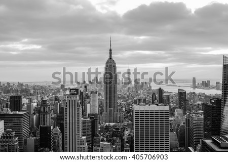 NEW YORK CITY, NY - JANUARY 2, 2016 -A classic photo of a scenic sunset with the skyscrapers of New York City from Rockefeller Center. - stock photo