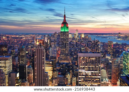 NEW YORK CITY, NY - MAY 30: The Empire State Building is a 102-story landmark skyscraper and was the world's tallest building for more than 40 years. May 30, 2011 in Manhattan, New York City. - stock photo