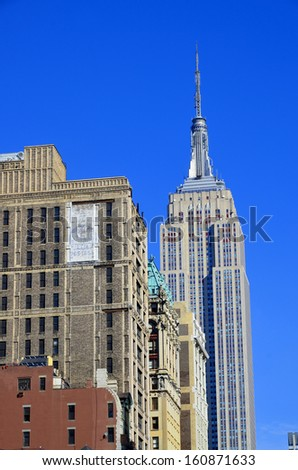 NEW YORK CITY, NY - OCT 29: Empire State Building on oct. 19, 2013 in New York City. Empire State Building is a 102-story landmarnd was world's tallest building for more than 40 years - stock photo
