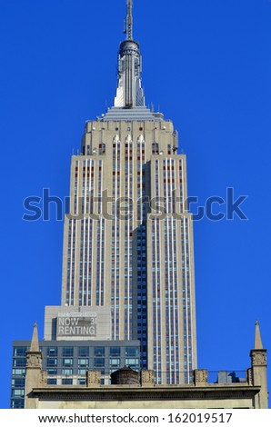 NEW YORK CITY, NY - OCT 29:  Empire State Building on oct. 29, 2013 in New York City. Empire State Building is a 102-story landmarnd was world's tallest building for more than 40 years - stock photo