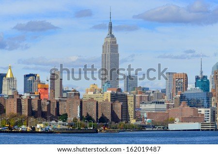 NEW YORK CITY, NY - OCT 29: Midtown and the Empire State Building on oct. 29, 2013 in New York City. Empire State Building is a 102-story landmarnd was world's tallest building for more than 40 years - stock photo