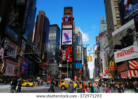 NEW YORK CITY, NY - SEP 5: Times Square street view on September 5, 2011 in Manhattan, New York City. Times Square is featured with Broadway Theaters and LED signs as a symbol of New York City.  - stock photo