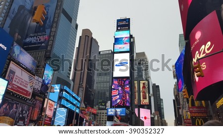 New York City, NY, USA - February 20, 2016: Times Square is one of the most famous places on Manhattan, New York City. - stock photo