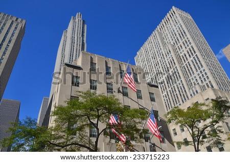 NEW YORK CITY OCT 27: Rockefeller Center on Oct 27, 2013 in New York. Rockefeller Center is a complex of 19 commercial buildings. It is a National Historic Landmark.  - stock photo