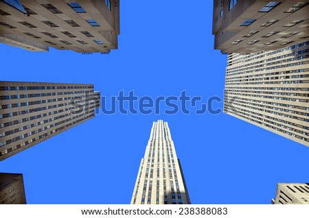 NEW YORK CITY OCT 27: Rockefeller Center on Oct 27, 2013 in New York. Rockefeller Center is a complex of 19 commercial buildings. It is a National Historic Landmark.  - stock photo