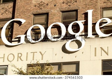 NEW YORK CITY - OCTOBER 22, 2015: Exterior view of a Google headquarters building. Google is a multinational corporation specializing in Internet-related services and products - stock photo