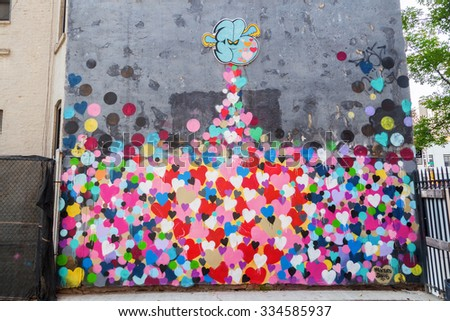 NEW YORK CITY - OCTOBER 09, 2015: graffiti art in downtown Manhattan. Graffiti in NYC has had a local, countrywide, and international influence.  - stock photo