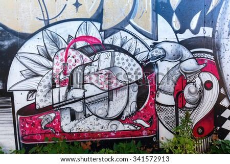 NEW YORK CITY - OCTOBER 11, 2015: graffiti art in Hunts Point, Bronx. Graffiti in New York City has had a local, countrywide, and international influence.  - stock photo