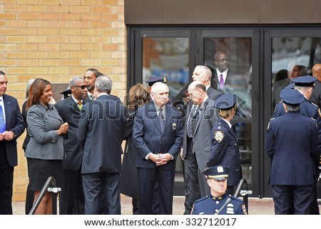 NEW YORK CITY - OCTOBER 27 2015: Police officers, families of police and elected officials attended a viewing for slain NYPD officer Randolph Holder in Jamaica, Queens. NYPD commissioner Bratton, - stock photo