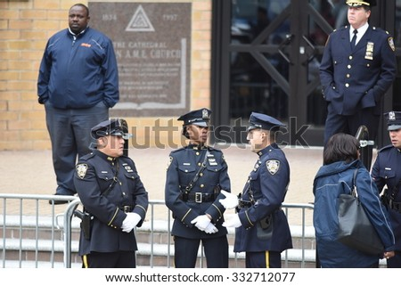 NEW YORK CITY - OCTOBER 27 2015: Police officers, families of police and elected officials attended a viewing for slain NYPD officer Randolph Holder in Jamaica, Queens. NYPD honor guard - stock photo