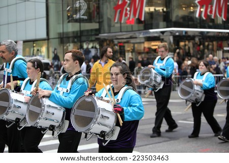 NEW YORK CITY - OCTOBER 13 2014: the 70th annual Columbus Day parade filled Fifth Avenue with thousands of marchers celebrating the pride of Italian heritage. Developmentally disabled school band - stock photo
