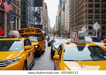 NEW YORK CITY - OCTOBER 9: Traffic jam on Park Avenue with yellow cabs in the foreground  - stock photo