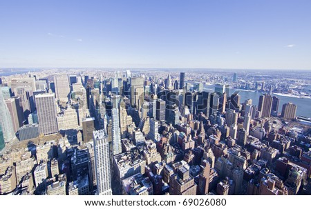 New York City panorama from the empire state building in mid manhattan. - stock photo