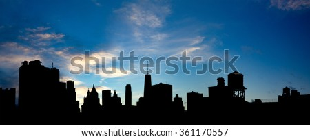 New York City Panoramic Skyline Buildings - stock photo